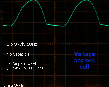 Voltage accross cell without capacitor